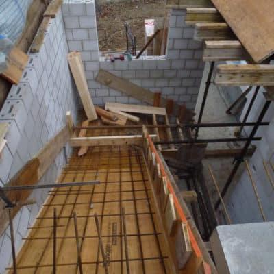 Anbau Treppenhaus, Schalung mit Armierung